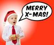 Kind ruft Merry Christmas zu Weihnachten