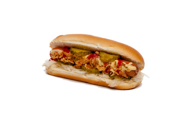 Hotdog/Hot Dog isoliert vor Weiß