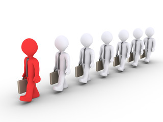 Leading businessman is showing the way to others