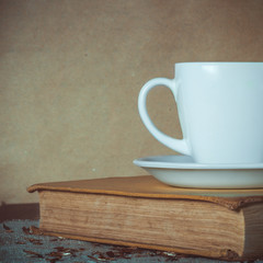 Vintage Still Life With Book And Cup