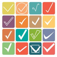 Set of flat check marks. ticks. icons