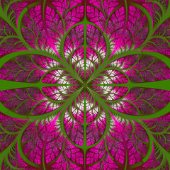 Symmetrical pattern of the leaves in green and pink. Collection