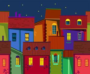 night old town illustration