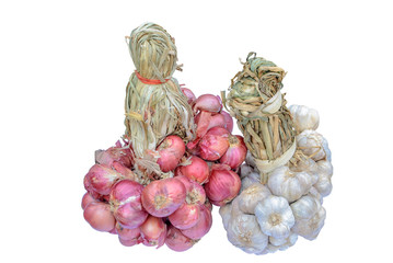 bunchs of red onion and garlic isolated