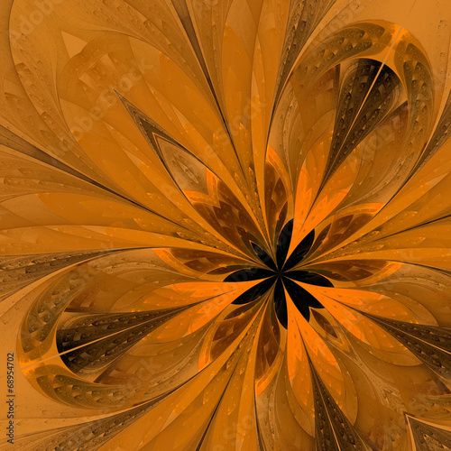 Beautiful fractal in yellow. Computer generated graphics.
