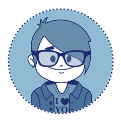 Character smiling hipster with glasses