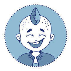 Character smiling punk with mohawk