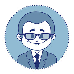 Character smiling teacher in suit