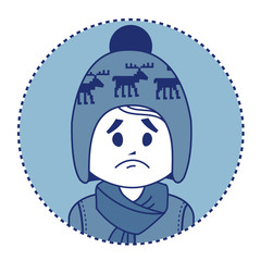 Character sad boy in winter hat and scarf