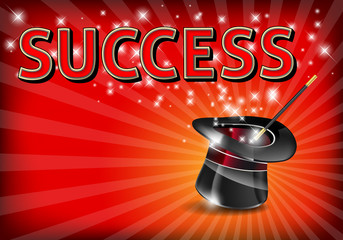 The word SUCCESS on glowing background with magic hat and wand