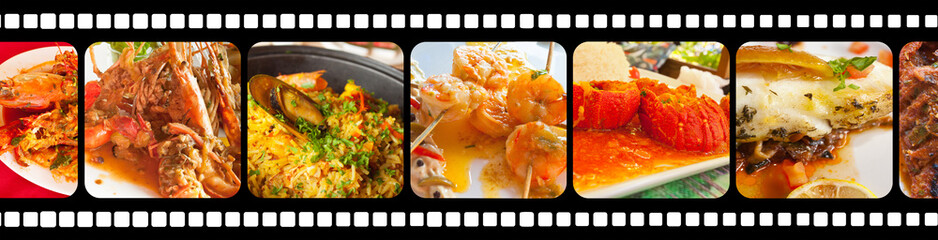 restaurant : poissons et crustacés sur pellicule film