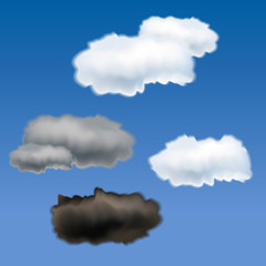 Set of different clouds - vector illustration