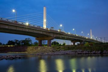 night view of a bridge in Hsinchu