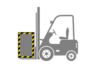Grey forklift icon on white background