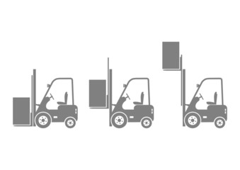 Grey forklift icons on white background