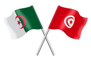 Drapeaux de l'Algérie et de la Tunisie