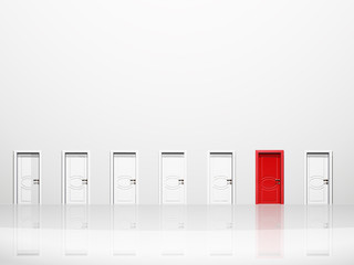 Single red door in huge white wall in white space