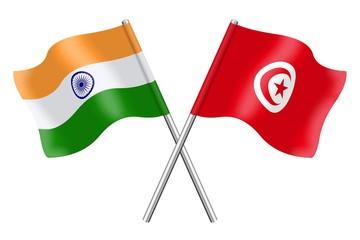 Flags : India and Tunisia