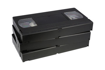 Stacked of videotape isolated on white