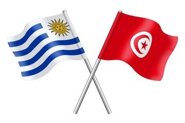 Flags : Uruguay and Tunisia