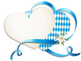 Herzkarten mit Schleife u. Edelweiss