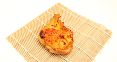 roast chicken close-up isolated on white background
