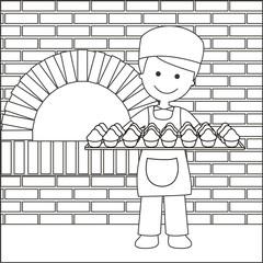 Panadero con bandeja de magdalenas líneas con fondo