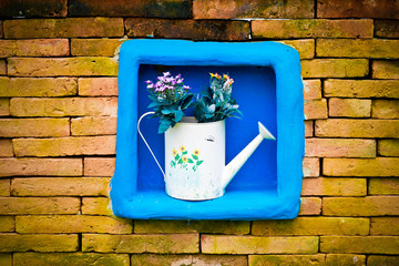 cute watering can with flower  on the space of the center