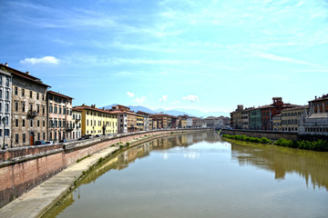 Panorama of Arno river which crosses the city of Pisa