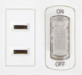Close - up white power electrical outlet