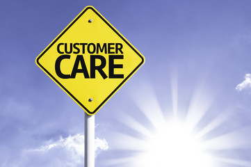 Customer Care road sign with sun background