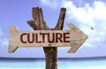 Culture sign with a beach on background