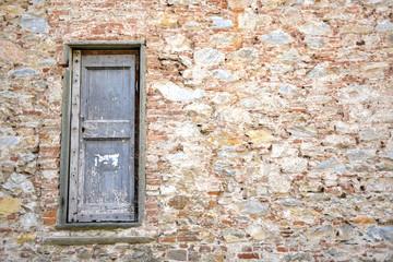 Stone wall with wooden door