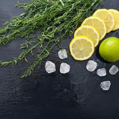 Tarragon with lemon, sugar and lime