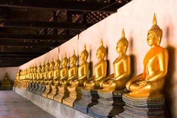 Row of sacred Buddha images in Putthaisawan Temple, Ayutthaya