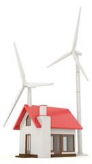 3D wind turbine providing clean energy for a little house
