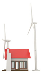 3D wind turbine providing clean energy for a little house in sid