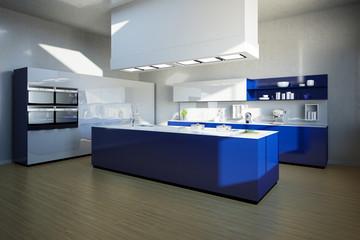 Kücheninsel in moderner Küche in blau
