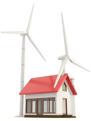 3D wind turbine providing clean energy for a little house with w
