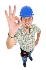 Carpenter showing OK sign