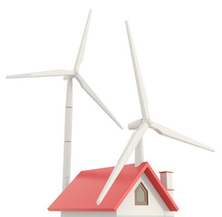 3D wind turbine providing clean energy into a little house roof