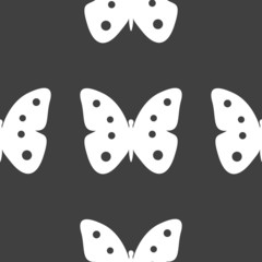 butterfly web icon. flat design. Seamless gray pattern.