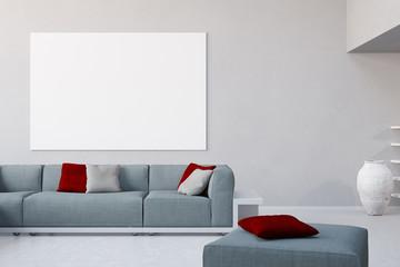 Weiße Leinwand an Wand im Wohnzimmer