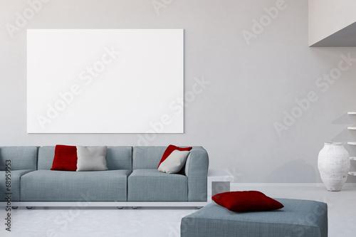 Leinwanddruck Bild Weiße Leinwand an Wand im Wohnzimmer