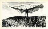 Lilienthal preparing for a Small Ornithopter flight,
