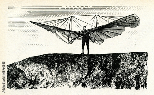 Leinwanddruck Bild Lilienthal preparing for a Small Ornithopter flight,