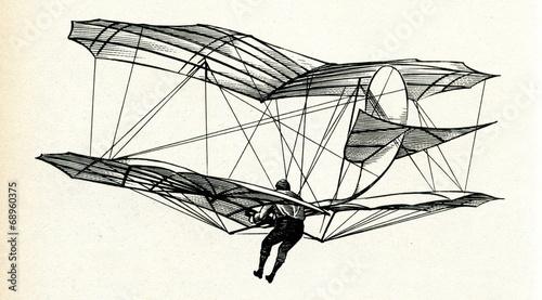 Leinwanddruck Bild Lilienthal in flight