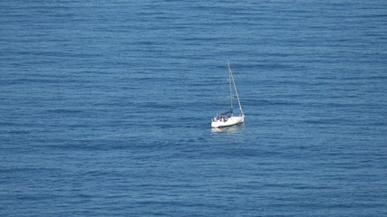 Sailing Boat at Ocean, top view shooting closeup