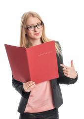 Geschäftsfrau mit Bewerbungsmappe