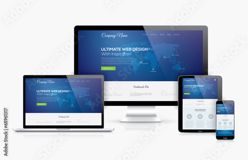 Responsive web design template realistic vector devices concept - 68961317